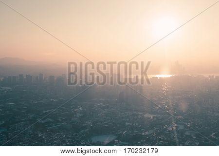 Seoul, South Korea Cityscape View In Winter