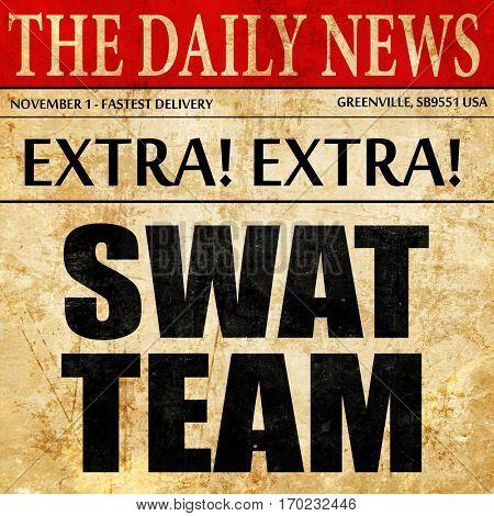 swat team, newspaper article text