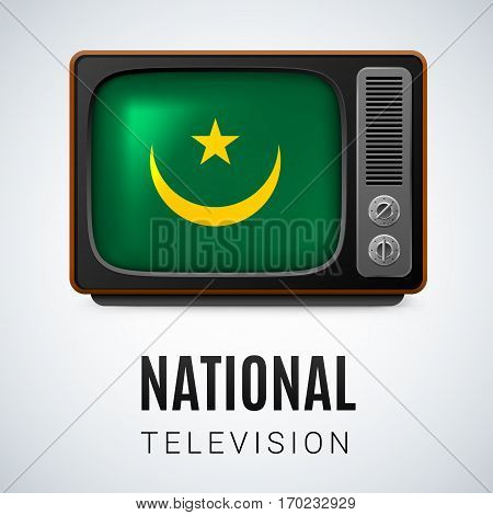 Vintage TV and Flag of Mauritania as Symbol National Television. Tele Receiver with Mauritanian flag