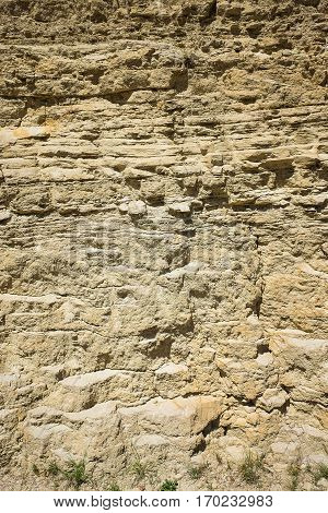 Outcrop Of Limestones And Mudstones With Alternating Bedding