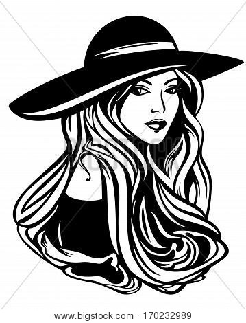 elegant woman with long hair wearing hat - black and white vector portrait
