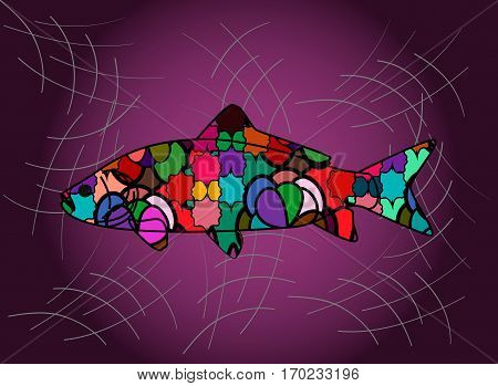 An illustration of a decorative fish in purple background.