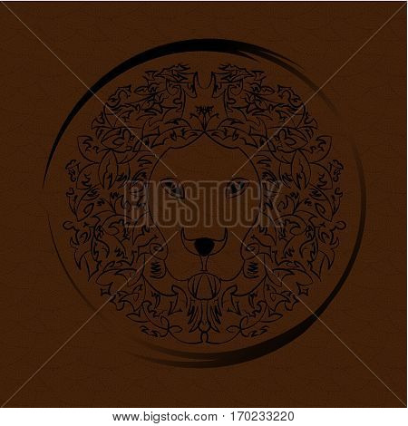 Decorative pattern of a lion in shield form.