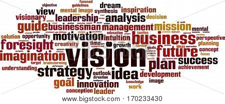Vision word cloud concept. Vector illustration on white poster