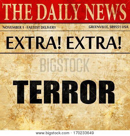 terror, newspaper article text