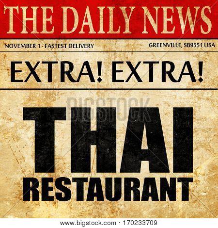 thai restaurant, newspaper article text