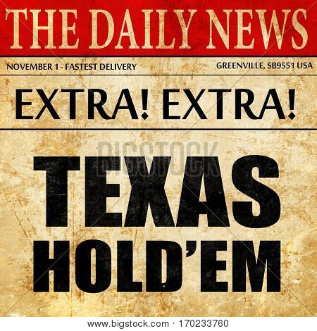 texas hold'em, newspaper article text
