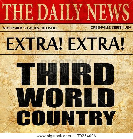 third world country, newspaper article text
