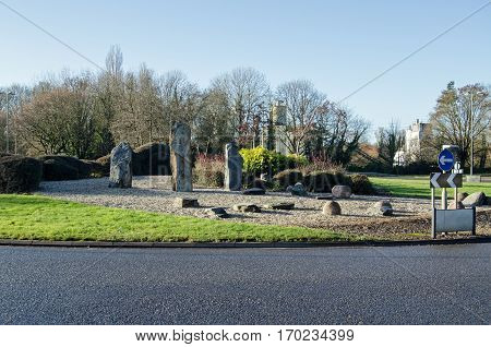 Late afternoon view of the Daneshill Roundabout in Basingstoke. Likened to Stonehenge it is one of the many road junctions in the Hampshire town which give it the nickname donut city.