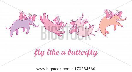 Vector illustration with pink flying elephant with ornate butterfly wings isolated on white background. Set with cartoon cute elephants in contour style for kids design. Fly like a butterfly concept.