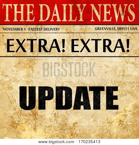update sign background, newspaper article text