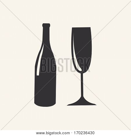 bottle and glass icon symbol wine bar drink vector stock