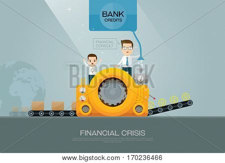 bank financial advisor and customer on factory vector