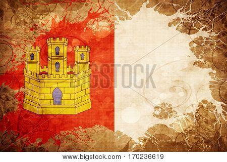 Vintage Castilla la manche flag with grunge effect