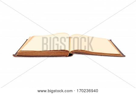 Old hardcover book isolated on white background
