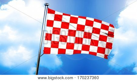chequered golf flag flag, 3D rendering