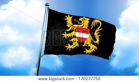 flemish brabant, vlaams brabant flag, 3D rendering