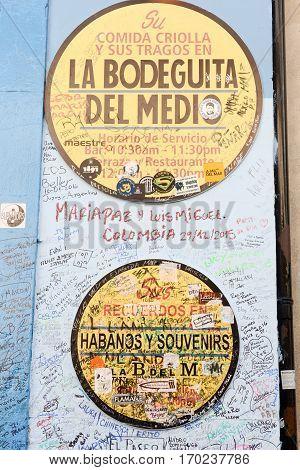 Havana Cuba - 6 january 2016 - La Bodeguita del Medio restaurant in Old Havana Cuba