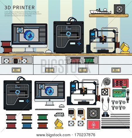 Tools for 3D printing. Technology concept. Printing technics on the table against blue wall. Paints, printer, computer, details isolated on white background. Lline flat design