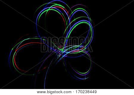Light Painting. Abstract, Futuristic, Colorful Long Exposure, Black Background-30