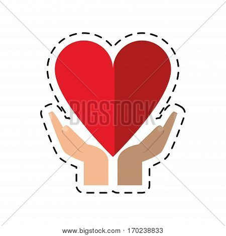 cartoon hand holding heart healthcare vector illustration eps 10