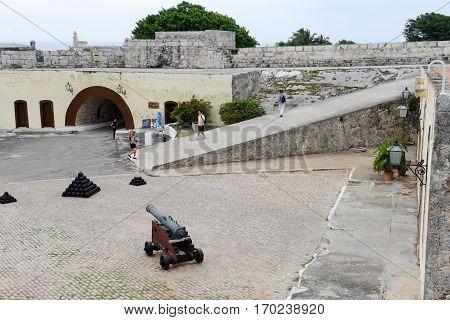 People Visiting On Walking The La Cabana Fortress At Havana