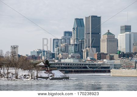 Montreal CA - 5 February 2017: Montreal Skyline in winter from Jean Drapeau island