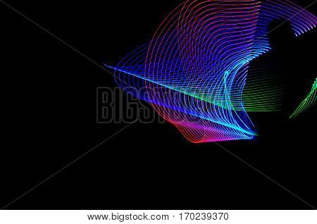 Light Painting. Abstract, Futuristic, Colorful Long Exposure, Black Background-54