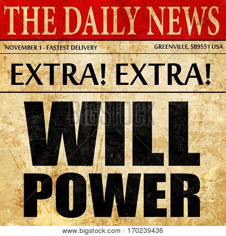 willpower, newspaper article text