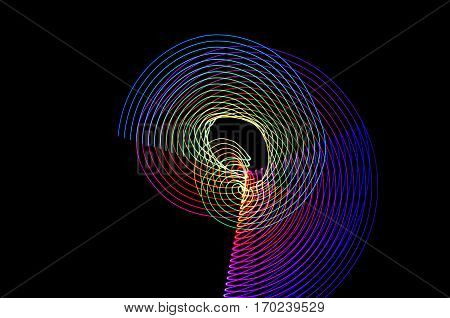 Light Painting. Abstract, Futuristic, Colorful Long Exposure, Black Background-59