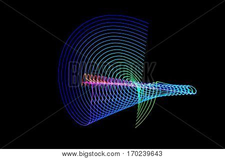 Light Painting. Abstract, Futuristic, Colorful Long Exposure, Black Background-61