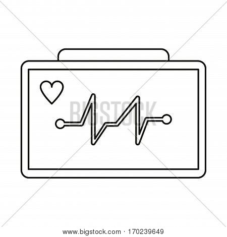 ecg heart machine medical device thin line vector illustration eps 10