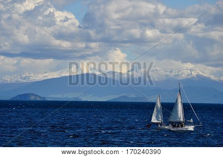 View of Lake Taupo and a boat