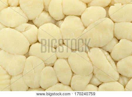 A very close view of plain potato gnocchi.