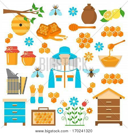 Beekeeping honey vector flat icons set with apiculture equipment, beekeeper, smoker, beehive, bee, honeycomb, jar and dipper stick isolated on white background.