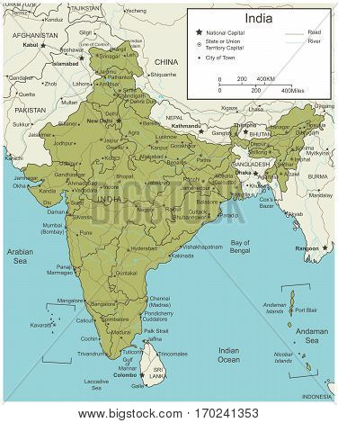 India map with selectable territories. Vector illustration