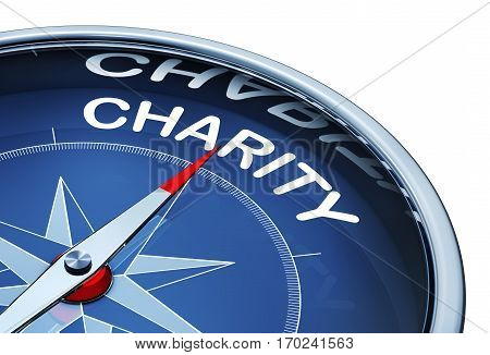 3D rendering of a compass with the word charity
