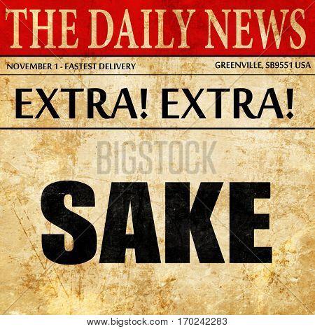 sake, newspaper article text