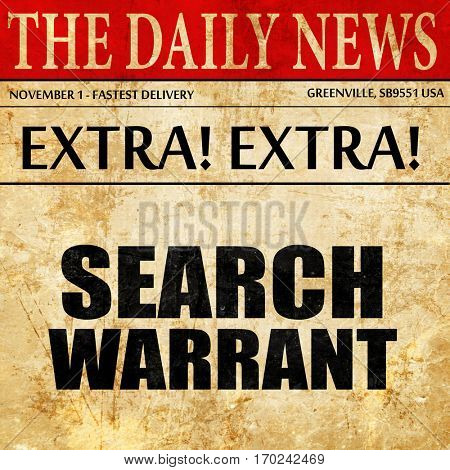 search warrant, newspaper article text