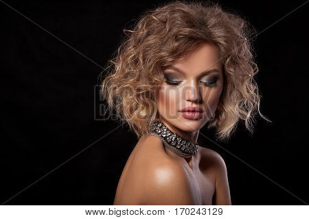 Beauty Woman With Beautiful Make-up Color .