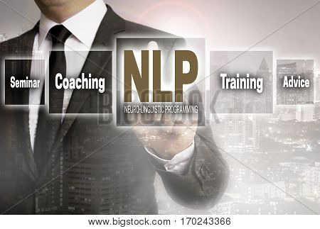 Nlp coaching businessman with city background concept