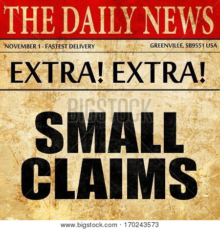 small claims, newspaper article text