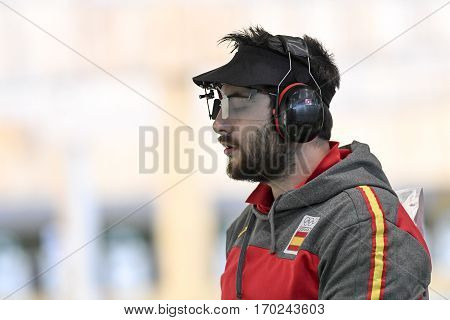 Rio Brazil - august 10 2016: CARRERA Pablo (ESP) during shooting 50m Pistol Men Shooting at Olympic Games 2016 in Olympic Shooting Centre Deodoro