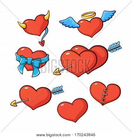 Vector illustration. Set of hearts with wings, horns, arrow, ribbon and seam for valentine day. Cartoon style with contour. Decoration for greeting cards, patches, prints for clothes, emblems