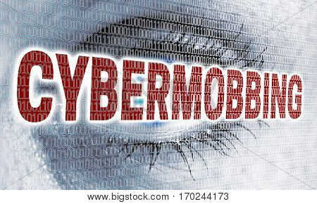Cybermobbing Eye With Matrix Looks At Viewer Concept
