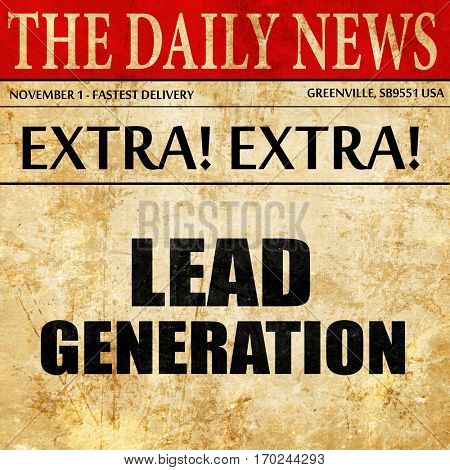lead generation, newspaper article text