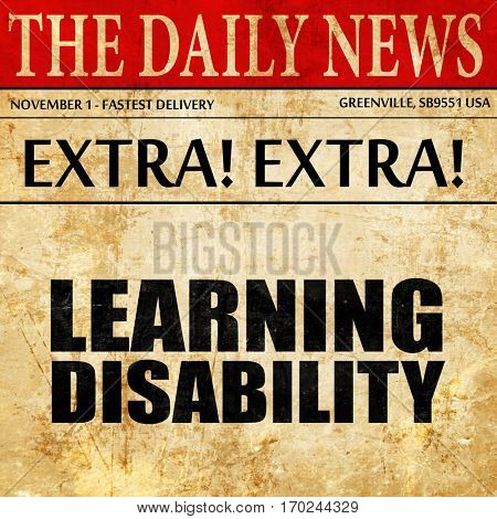 learning disability, newspaper article text