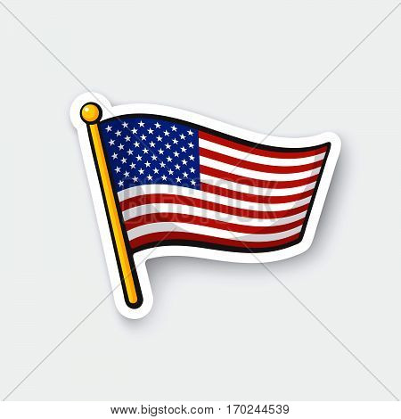 Vector illustration. Flag of the United States on flagstaff. Checkpoint symbol for travelers. Cartoon sticker with contour. Decoration for greeting cards posters patches prints for clothes emblems