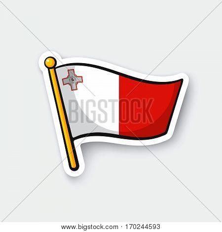 Vector illustration. Flag of Malta on flagstaff. Location symbol for travelers. Cartoon sticker with contour. Decoration for greeting cards posters patches prints for clothes emblems