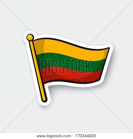 Vector illustration. Flag of Lithuania on flagstaff. Location symbol for travelers. Cartoon sticker with contour. Decoration for greeting cards posters patches prints for clothes emblems